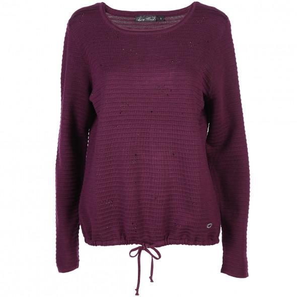 Damen Ripp-Pullover mit Glitzersteinchen