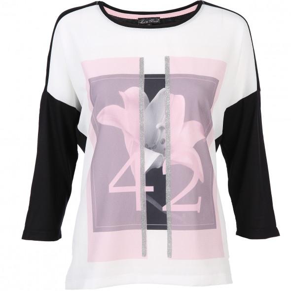 Damen Materialmix-Shirt mit Blumenmotiv