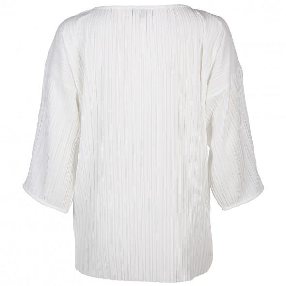 Damen Plissee Shirt mit 3/4 langem Arm