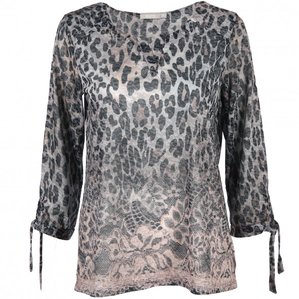 Damen Langarmshirt in Leo-Optik