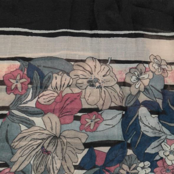 Damen Schal mit Blumen und Streifen