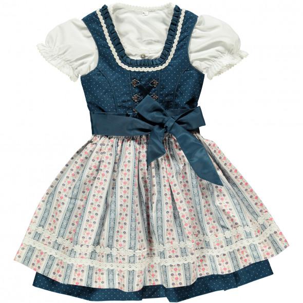 Mädchen Dirndl in blau, bestehend aus Bluse, Kleid und Schürze