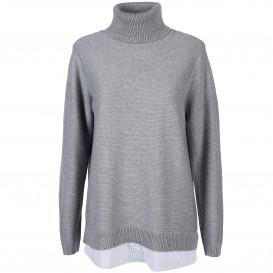 Damen Pullover mit Rollkragen und Blusenansatz