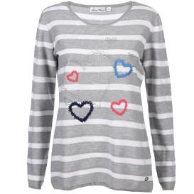 Damen Pullover mit Stickerei und Glitzersteinchen