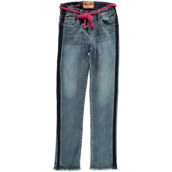 Mädchen Jeans mit Galonstreifen und Bindegürtel