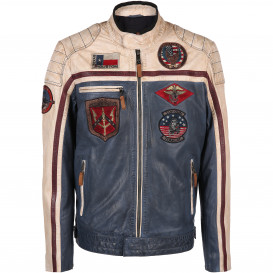 Herren Top Gun Echtlederjacke im Vintage Look