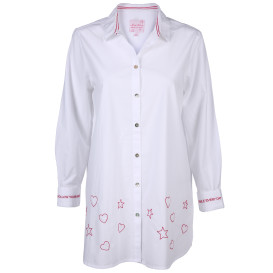 Damen Bluse in langer Form mit Stickerei