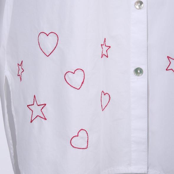 Damen Bluse in langer Form mit Stickerei