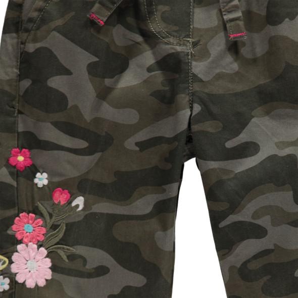 Mädchen Camouflage Hose mit Blumenstickerei
