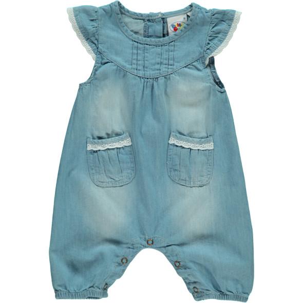Baby Jeans Overall mit Spitzenbesatz