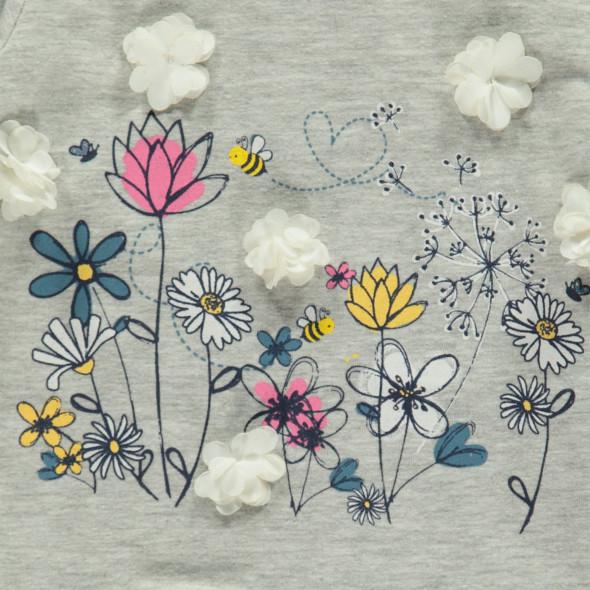 Baby Langarmshirt mit Frontprint, Rüschchen und Chiffon-Bliumen