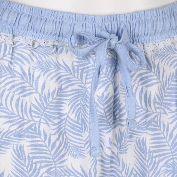 Damen Schlafhose in 3/4 Länge im Palmenprint