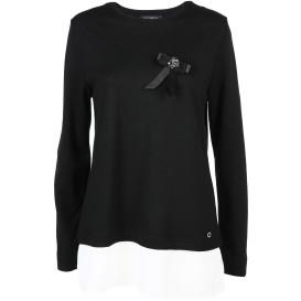 Damen Sweatshirt mit Blusenansatz und Brosche