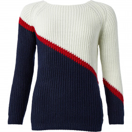 Damen Strickpullover im Colourblocking-Design