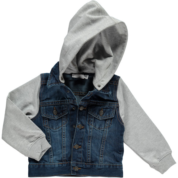 Jungen Jeansjacke mit abnehmbarer Kapuze