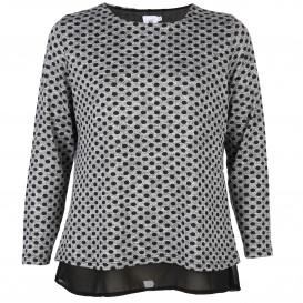 Große Größen Shirt mit Punkten und Chiffon-Einsatz