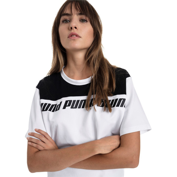 Damen Shirt mit Netzeinsatz und Logoprint