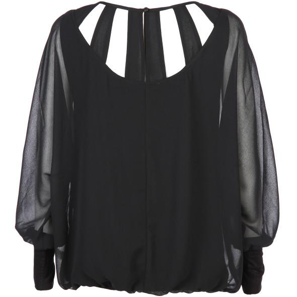 f49c61a7aa3cbe Damen Bluse mit raffiniertem Einblick (Schwarz) | AWG Mode