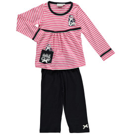 Mädchen Pyjama im Streifen Look