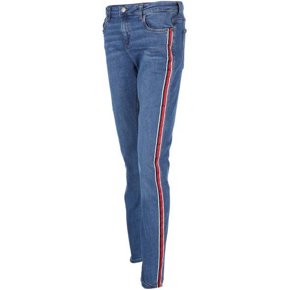 damen jeans mit galonstreifen blau awg mode. Black Bedroom Furniture Sets. Home Design Ideas
