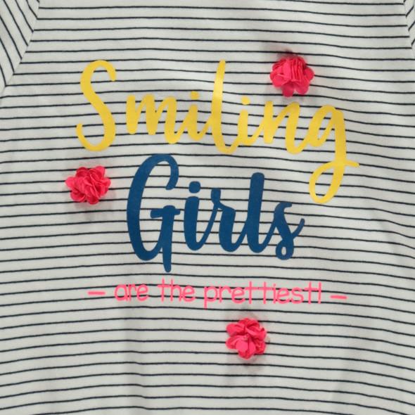 Mädchen Langarmshirt mit Print und Chiffonblumen