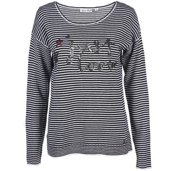 Damen Pullover mit Streifen und Pailletten Motiv