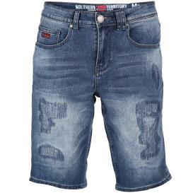 Herren Jeansbermuda mit Abnutzungsdetails