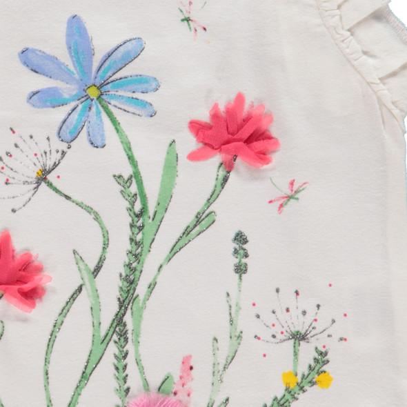 Mädchen T-Shirt mit Volant und Blumenmotiven