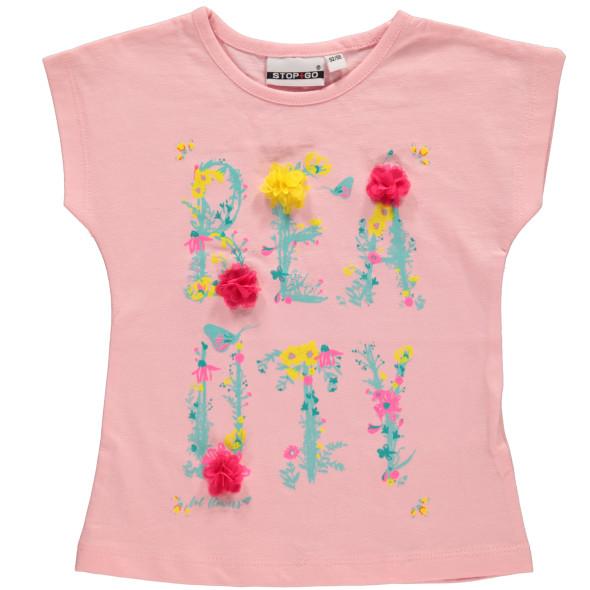 Mädchen Shirt mit Frontprint und Chiffon Blumen
