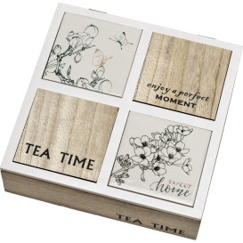Teebox aus Holz 24x24x6,5cm