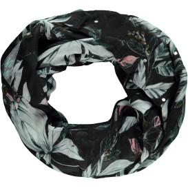 Damen Loop Schal mit floralem Print und Glitzerpunkten