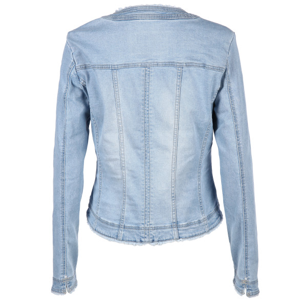 Damen Jeansjacke mit Fransendetails