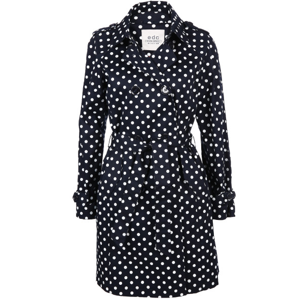 Damen Trenchcoat mit Polka-Dots
