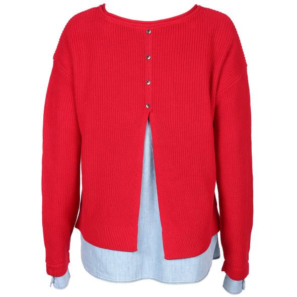 Damen Pullover mit Bluseneinsatz