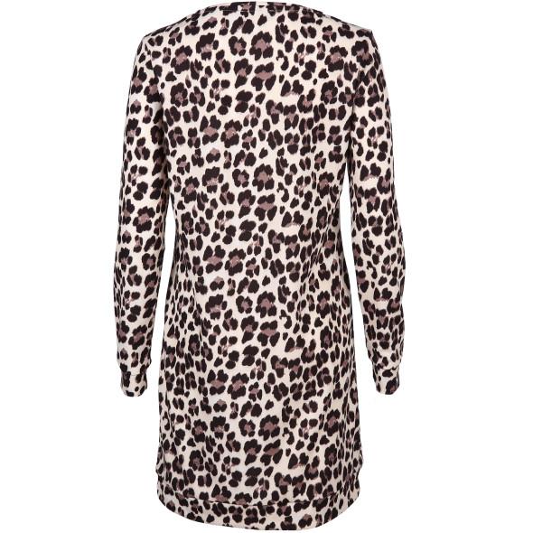 Damenkleid langarm im Leo Print