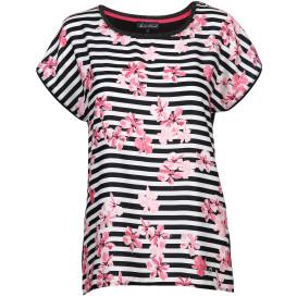 Damen Shirt im floralen Streifen Dessin