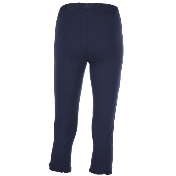 Damen Capri Leggings mit Rüschenabschluss