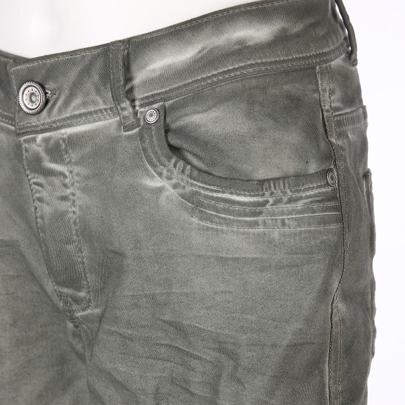 Damen Jeans mit Glitzernaht in Crash Optik