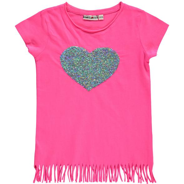 Mädchen Shirt mit Pailletten-Motiv und Fransen