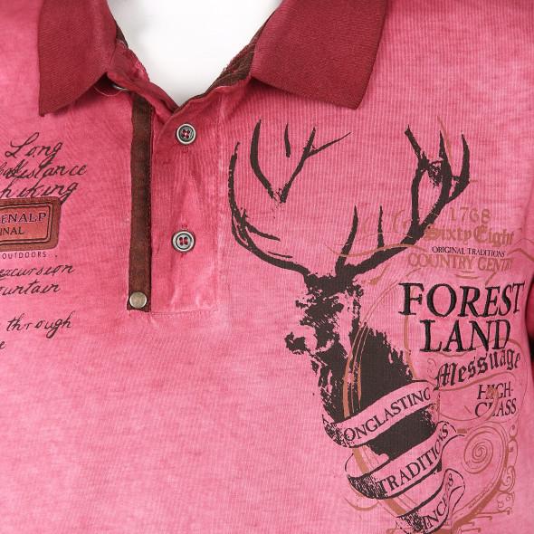 Herren Poloshirt mit Print und Stickerei