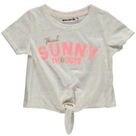 Mädchen Shirt mit Flockprint und Effektgarn