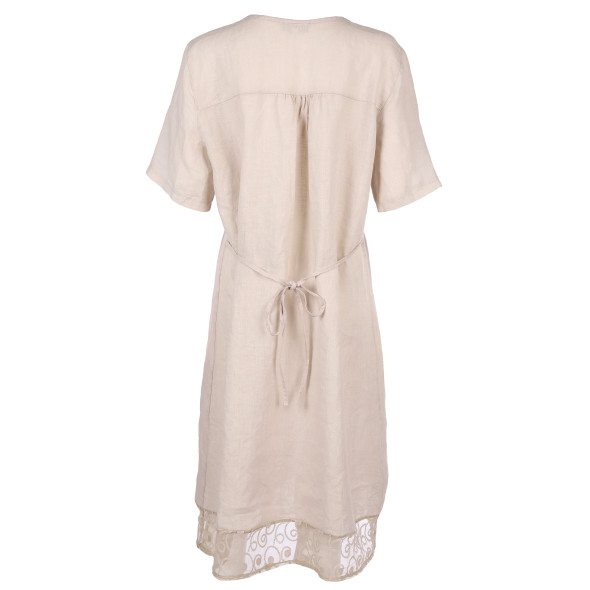 Damen Leinenkleid mit Spitzendetails