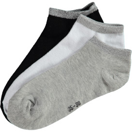 Damen Sneaker Socken mit Lurex verziert im 3er Pack
