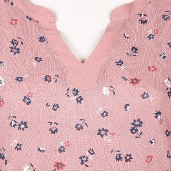 Damen Shirt mit Serafino-Ausschnitt und Allover Print