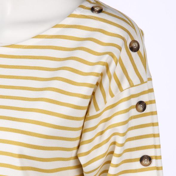 Damen Streifenshirt mit Knöpfen