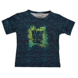 Jungen Shirt in melierter Optik mit Print