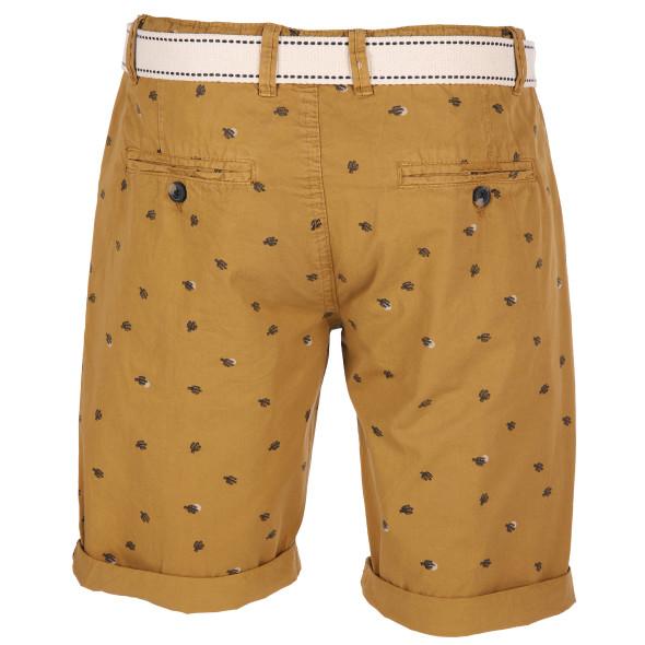 Herren Shorts mit Minimalprint und Flechtgürtel