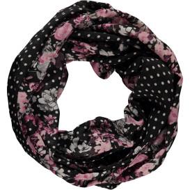 Damen Loopschal mit Punkten und Blumen