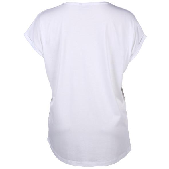 Große Größen Shirt mit Glitzerprint und Glitzersteinchen