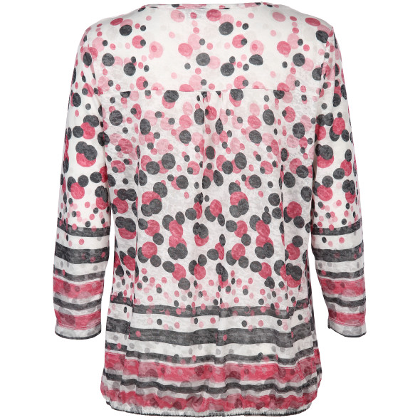 Damen Shirt im Materialmix mit Alloverprint